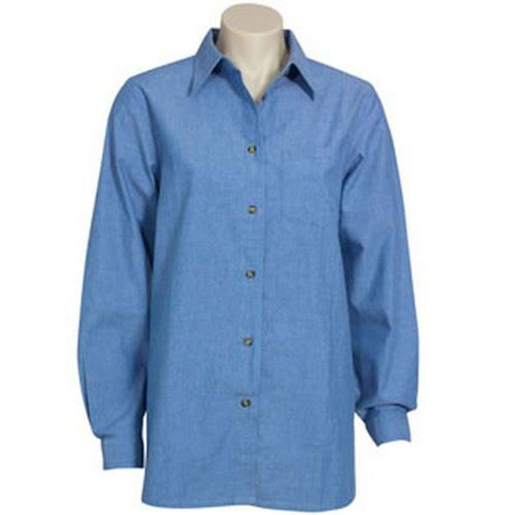 Picture of Ladies Long Sleeve Chambray Shirt