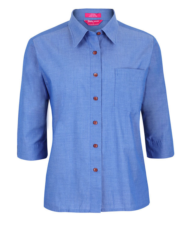 Picture of JB's LADIES ORIGINAL 3/4 INDIGO CHAMBRAY SHIRT